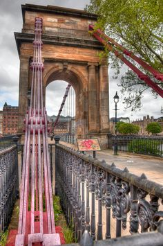 Foot bridge in the city of Glasgow Scotland