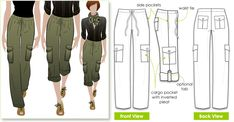 pants patterns for sewing free | StyleArc Kerry Cargo Pant