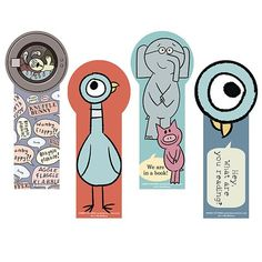 NEW Die-cut Bookmarks featuring the Pigeon, Knuffle Bunny, Elephant and PIggie!