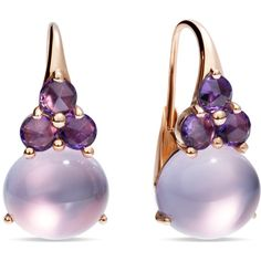 Pomellato Earrings Luna ($6,360) ❤ liked on Polyvore featuring jewelry, earrings, purple, sparkly earrings, cabochon earrings, cabochon jewelry, purple earrings and earrings jewelry