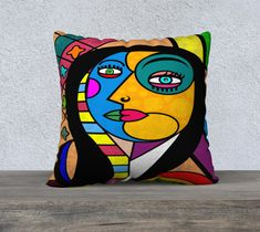 Mona Lisa Picasso Style Velveteen Pillow/Cushion Cover, Head, Nose, Upholstery Velveteen, Sofa Cushion, Art Cushion, Bright. Colourful Funky Cushions, Striped Cushions, Colourful Cushions, Cushions On Sofa, Large Cushion Covers, Cushion Cover Designs, Throw Pillow Cases, Pillow Covers, Throw Pillows