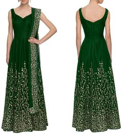 Fabulous Bottle Green Anarkali Suit