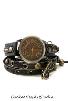 Antique Brown Wrap Watch, Womens leather watch, Bracelet Watch, Distressed Bracelet Watch