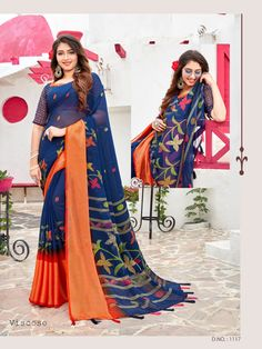 Saree Design Patterns, Georgette Sarees, Western Outfits, Casual Wear, Kimono Top, Sari, Website Link, Clothes For Women, How To Wear