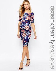 ASOS Maternity | ASOS Maternity Bardot Dress With Half Sleeve in Floral Print at ASOS
