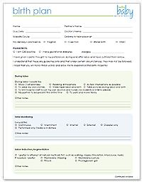Here's a printable birth plan. Just fill out and share with your ...