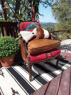 Made to Order** Custom Navajo and Cowhide Antique Chair Metal Dining Chairs, Antique Chairs, Outdoor Chairs, Outdoor Furniture, Outdoor Decor, Lounge Chairs, French Provincial Chair, Compact Table And Chairs, Hanging Chair From Ceiling