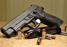 Sig Sauer P227 double stack 45ACP. Was looking at this yesterday it's a very nice pistol. Weapons Guns, Guns And Ammo, Rifles, Sig Sauer P226, Sig P220, Best Handguns, Long Rifle, Fire Powers, Outdoor Life