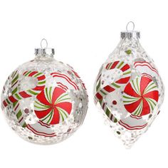 clear glass peppermint Christmas ornaments item 3202339 by RAZ Imports