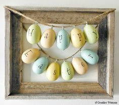 Last year I made these  Easter eggs and hung them across the mantle of the fireplace. I wanted to do something a little different with them...