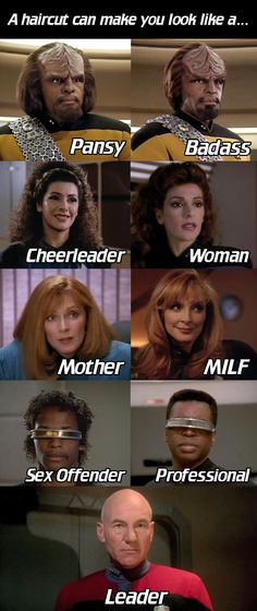 """Dr. Beverly Crusher: From """"Mom"""" to """"MILF"""" in a few easy snips. #StarTrek #STTNG"""