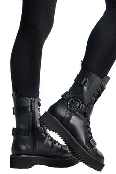 Details about  /Githic Womens punk Low Block Heel Buckle Belts casual Riding Ankle Boots