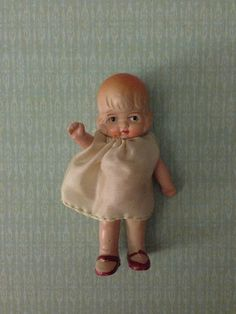Tiny Vintage Bisque Dollhouse Doll all Original on Etsy, $15.00