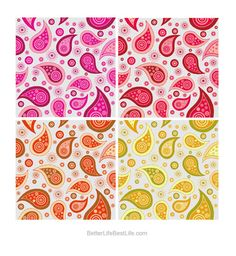 PAISLEY BACKGROUNDS – GORGEOUS PINKS & REDS