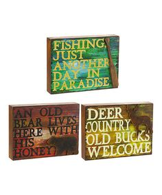 Another great find on #zulily! Lodge Box Sign - Set of Three #zulilyfinds
