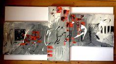 Tryptique abstrait acrylique (30X40)(50X20)(30X40) Tons gris ,noir,blanc et rouge ...et du relief... Majocréa
