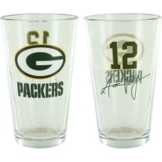 Show your allegiance every time you take a sip with this officially licensed pint glass. This pint glass from Boelter Brands holds approximately 16 ounces and displays your favorite team in a quality design. Green Bay Packers Merchandise, Aaron Rodgers, Pint Glass, Number, Beer Glassware