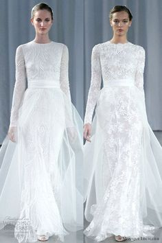 I just don't really know where else to pin the dress on the left. I love how simple it is. monique lhuillier fall 2013 long sleeve wedding dresses a line tulle over skirt - HOW PERFECT? Tulle Wedding Gown, Muslim Wedding Dresses, Wedding Dress Sleeves, Long Sleeve Wedding, Wedding Attire, Bridal Dresses, Wedding Skirt, Monique Lhuillier, Madame