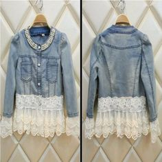 This denim jacket has all the classic details, a beading neckline, buttoned front, two side chest pockets and lace on the hem and sleeve. It is made of cotton and polyester materials. Perfectly fitted