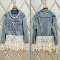 Vintage Beaded Lace Denim  Women Jacket