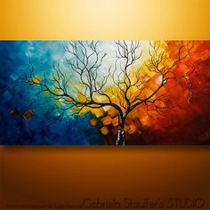 """XXL Painting, 60""""x30"""", Palette Knife Painting, Modern Painting, Art"""