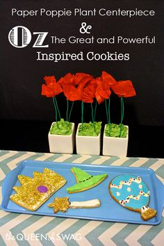 DIY Flower Craft & Cookie Recipe Inspired By Disney Oz The Great & Powerful. — The Queen of Swag! Disney Diy, Disney Crafts, Disney Food, Flower Crafts, Diy Flowers, Plant Centerpieces, Family Movie Night, Disney Birthday, Party Themes