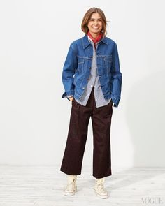 April 7 - The denim jacket is cut like a men's shirt; the pants are covered in tiny red stars; the gingham shirt is narrow and natty. This is a lesson in how to dress adorably now.Andreea Diaconu in a Levi's jacket, Thom Browne top, Dries Van Noten pants, Charvet scarf, and Converse shoesLevi's Vintage Clothing 1970s Trucker jacket in Medium, $288millmercantile.com