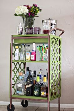 #Barcarts are making a comeback. See how to jazz up an old, plain bar cart into a #trendy piece with this #DIY breakdown.