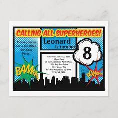 Colorful Superhero Comic Boy's Birthday Party Invitation Postcard Superhero Birthday Invitations, Party Favors For Kids Birthday, Superhero Birthday Party, Boy Birthday Parties, Batman Party, All Superheroes, Party Places, Comic, Colorful