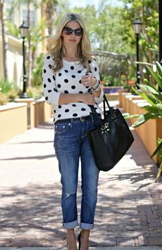 b/w polka dot sweater + boyfriend jeans + black pointy toe pumps {Perfection Possibilities: Black & White}