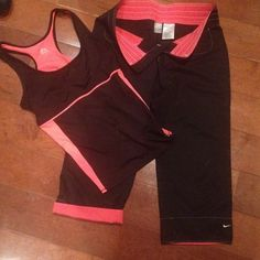 NIKE ROLL UP/DOWN PANTS W/RBX(REEBOX)BRA LINED TOP NIKE PANTS AS STATED ABOVE CAN BE WORN UP OR DOWN. ROLLED UP EXPOSES THE CORAL COLOR UNDERNEATH AND DOWN SHOWS THE NIKE SWOOSH AS SHOWN IN THE PICTURE. THE NIKES ARE MADE OF 62% COTTON/38% POLYESTER AND HAVE AN ELASTIC WAIST. THE RBX TOP IS BLACK AND CORAL AND IS STRETCHY WITH A BRA INSERT INSIDE THE TOP/TANK. THE TWO WERE GO NICELY TOGETHER AND WERE WORN TOGETHER SO SELLING AS A SET. AS ABOVD BOTH ARE MEDIUMS. B4 NIKE/RBX Intimates…