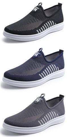 e5fff2efa Men Mesh Fabric Breathable Light Weight Slip On Casual Shoes Men Sneakers