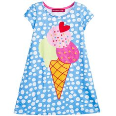 Girls blue and white polka-dot, short-sleeved dress byAgatha Ruiz de la Prada in a soft cotton jersey. It has a delicious ice- cream print on the front with embroidered details and a red heart shapedappliqué.<br /> <ul> <li>100% cotton (soft jersey)</li> <li>Machine wash (30*)</li> <li>True to size fitting</li> <li>Above the knee length</li> </ul>