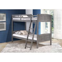 With a twin bed on bottom and top, this Donco Louver Bunk Bed has a solid wood construction for durability with a ladder and protective rails on top for safety. No box spring needed. This bunk converts into two separate beds.