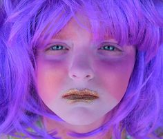 Glitter Girl With Purple Hair