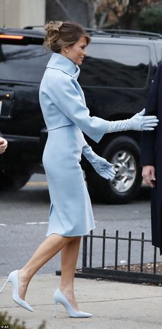 Gloveing it: Melania matched every single part of her look perfectly, from the shoes to he...