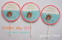 Free printable - mermaid party banner, toppers and thank you tags