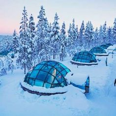 Where: Saariselkä, Finland What: Glass-roofed igloo hotel rooms half-buried in the snow, where guest... - Photo courtesy Kakslauttanen Arctic Resort