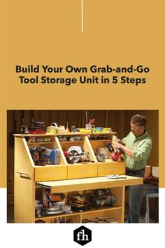 Build Your Own Grab-and-Go Tool Storage Unit in 5 Steps Handyman Magazine, Work Surface, Drawer Fronts, Tool Storage, Build Your Own, Panel Doors, Working Area, Organization Hacks, Shelving