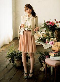 pleated peach skirt