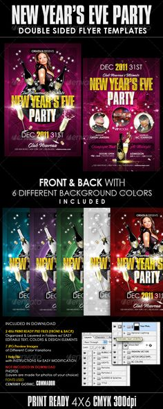 Buy New Years Eve Party Flyer Templates by CreativB on GraphicRiver. Use this design for any New Year's Eve event or any nightclub party. Change elements, colors and text to get a variet. New Year's Eve Flyer, Marketing Postcard, Christmas Flyer Template, Party Flyer, Nye Party, Photography Flyer, Postcard Template, Event Flyer Templates, Holiday Lights