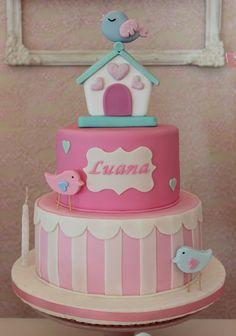 Little Birds Cake Bird Birthday Parties, Birthday Cake Girls, Beautiful Cakes, Amazing Cakes, Fondant Cakes, Cupcake Cakes, Bolo Fack, Torta Baby Shower, Fake Cake