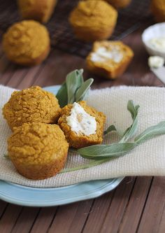 Pumpkin Corn Muffins with Honey Sage Butter.