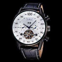 Men's Watch Auto Mechanical Tourbillon Hollow Engraving Calendar Leather Band – EUR € 40.17