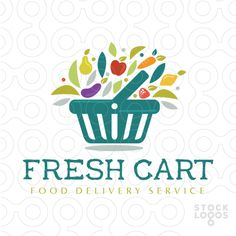Simple, bold and abstract design that combines fruit/vegetables shape merging from a shopping chart basket.