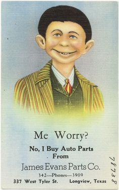 Advertisement flyer from 1930s, 20 years before his first appearance on the cover of MAD Magazine.