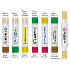Double your fun, double your excitement and get double the flavor with our new double sided lip balm! Lip balm is all natural made with aloe, beeswax, vitamin E, and is made in the USA. This non-SPF lip balm comes with a white digital label which allows for full color imprint and comes with different colored caps! Six flavor combinations available! #doublesided #lipbalm #2in1lb