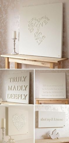 11 Cheap DIY Wall Decor Ideas - Mobile and Manufactured Home Living Glue wooden letters onto a canvas and spray paint. On a side note - I love every single idea on this link! Diy Wand, Canvas Letters, Wood Letters, White Letters, Small Letters, Wood Canvas, Stick Letters, Craft Letters, Monogram Letters