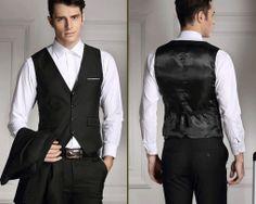 Štýlová pánska vesta ku obleku v čiernej farbe