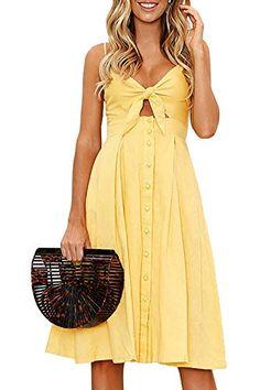 ECOWISH Womens Dresses Summer Tie Front V-Neck Spaghetti Strap Button Down A-Line Backless Swing Midi Dress women's high fashion clothing Cap Dress, Dress Up, Knot Dress, Swing Dress, Dress Long, Skater Dress, Boho Dress, Plus Size Maxi Dresses, Short Sleeve Dresses